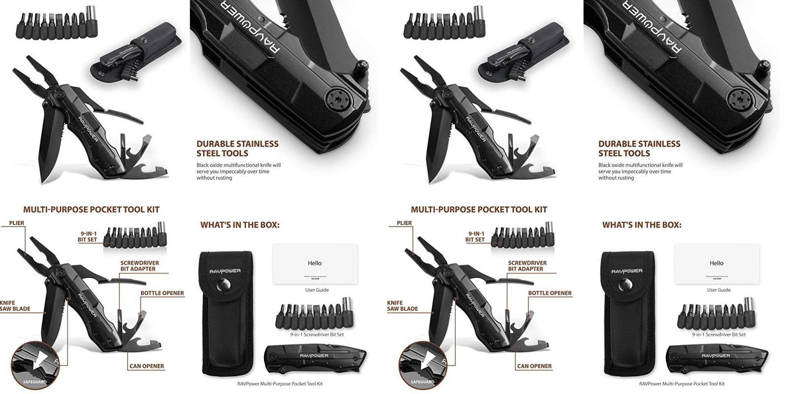 This Stainless Steel Ravpower Multi Tool Includes A 9
