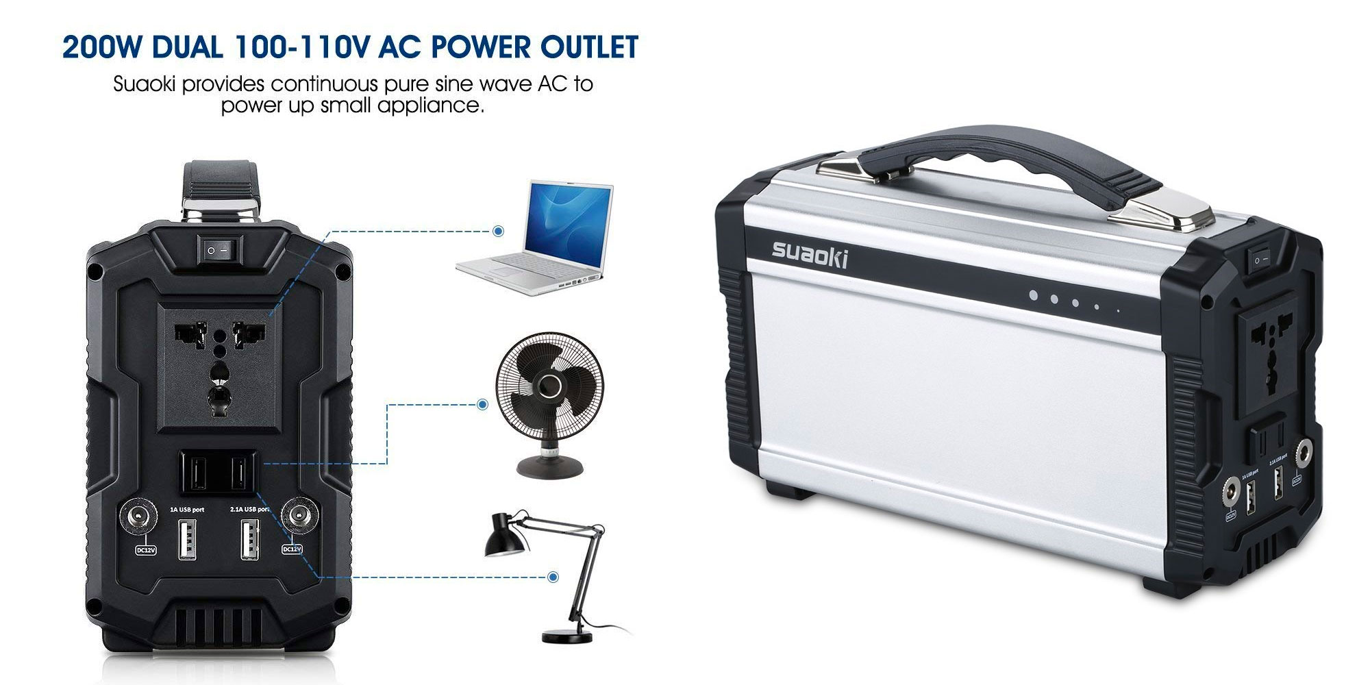 This 222Wh portable power station from Suaoki features USB, AC, more at $140 (Reg. $190)