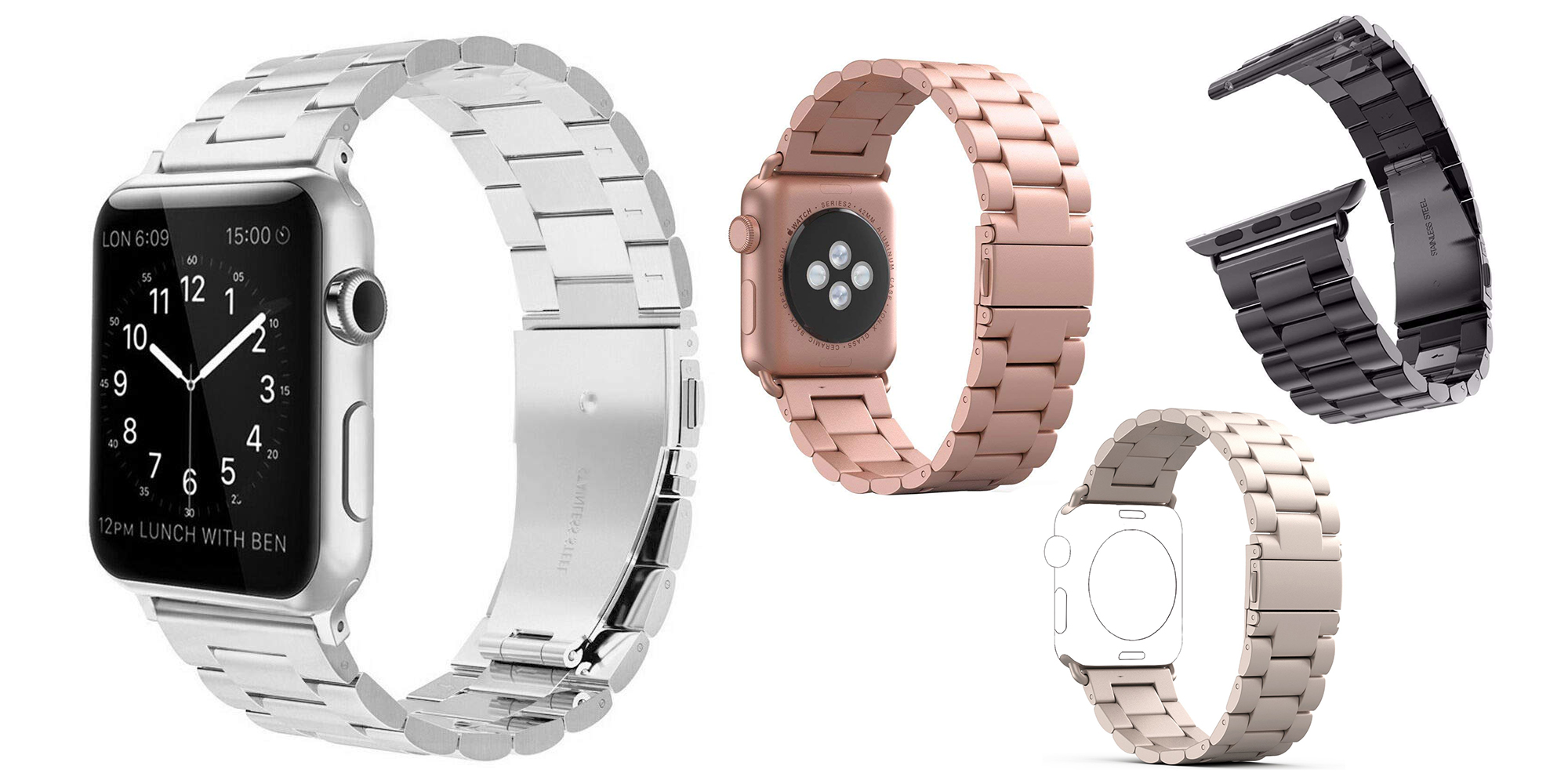 Pick up a stainless steel Apple Watch link band in various colors for $13.50