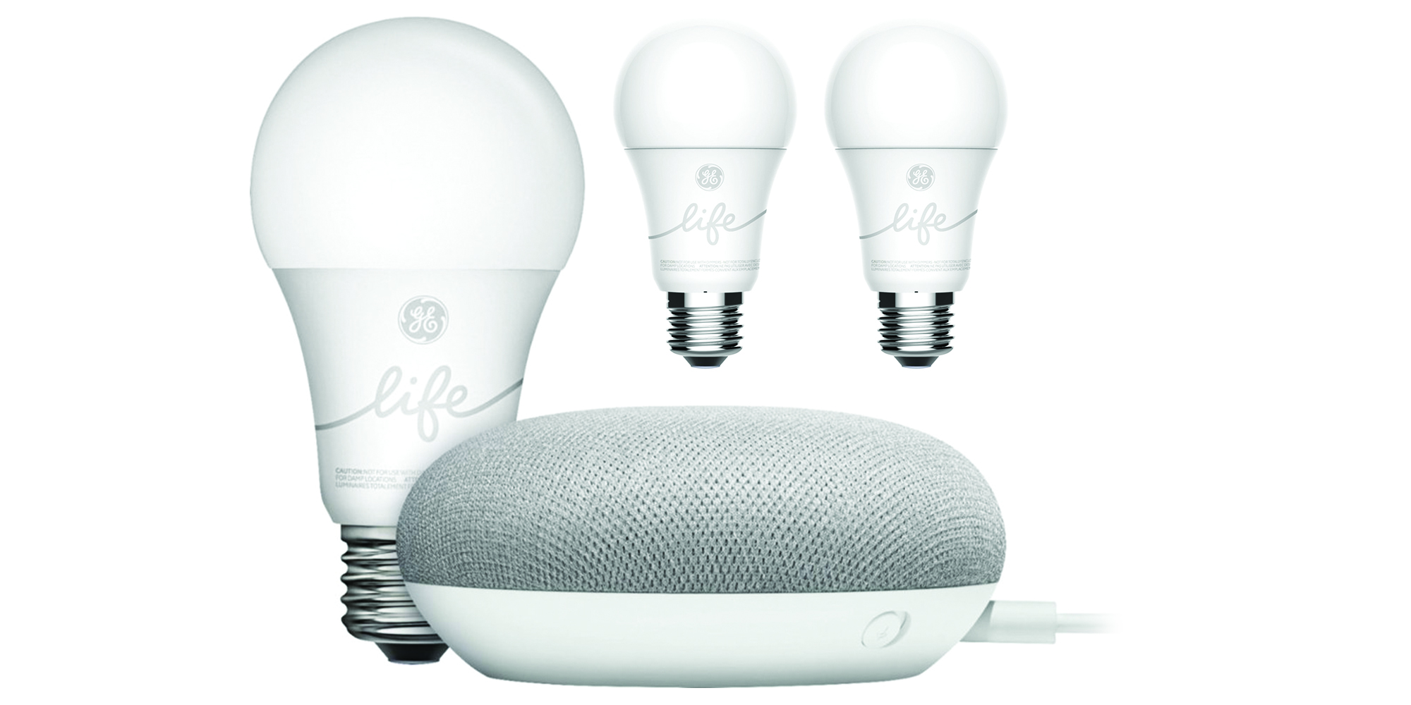 Kickoff your Assistant-powered smart home w/ a Google Home Mini Speaker + 3 GE Bulbs for $35