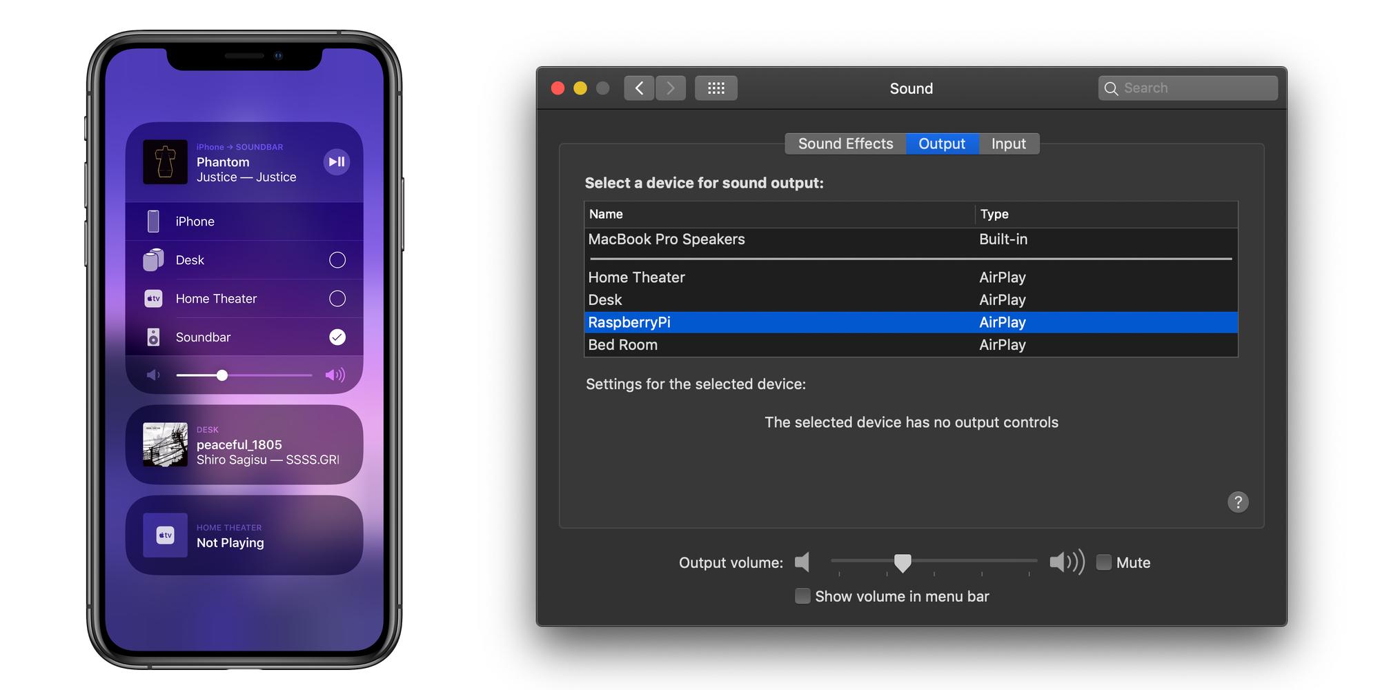 Menu Airplay en iPhone configurado desde una Raspberry Pi