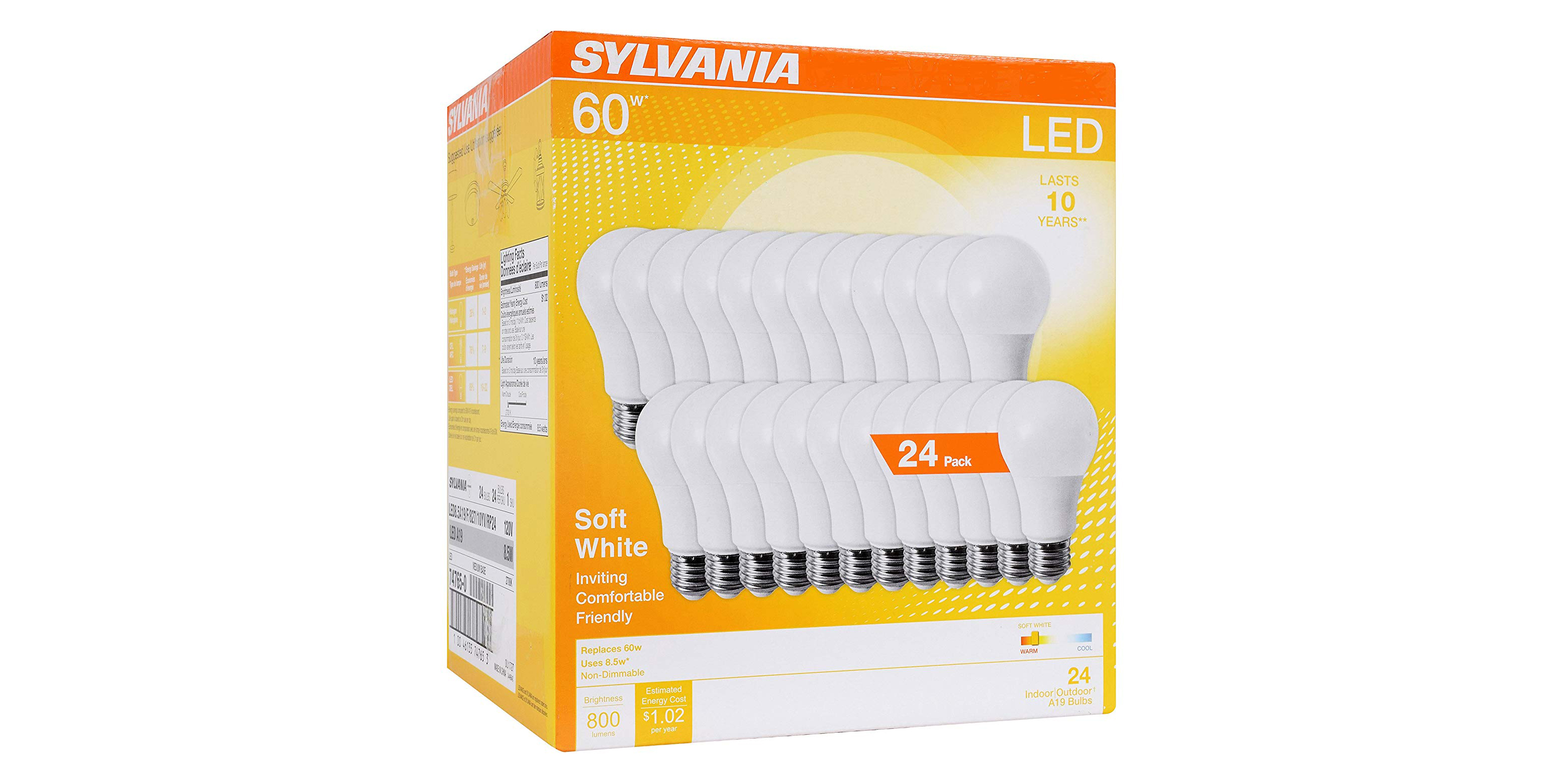 Pick up a 24-pack of Sylvania LED Light Bulbs for just $0.95 per unit