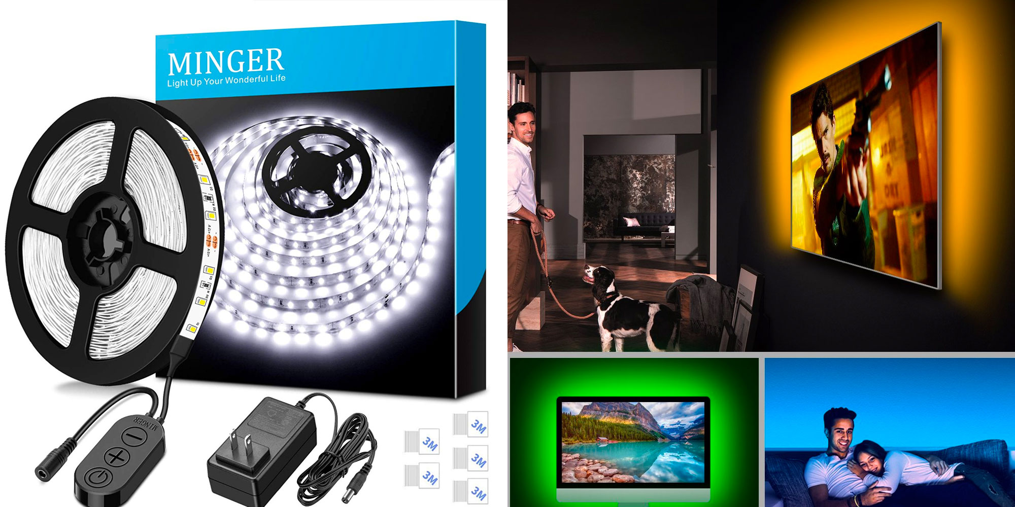 Add RGB bias lighting to your home theater setup & more w/ these LED strips from $8
