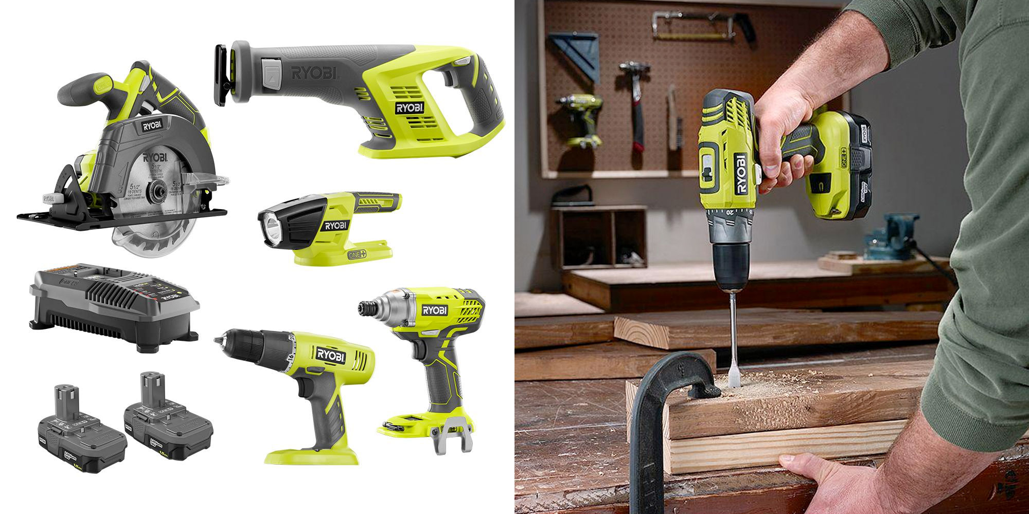 Expand your DIY toolkit w/ RYOBI's 18V ONE+ 5-piece combo set for $149 ($400+ value)