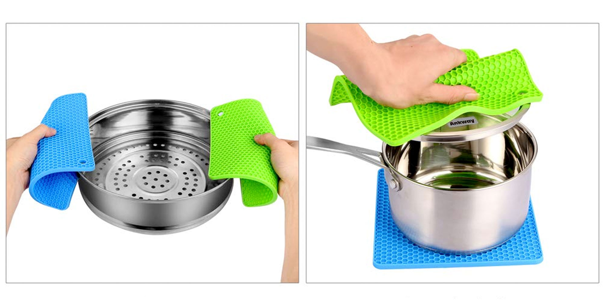 Never worry about hot pots again w/ this 4-pack of silicone grips & trivets for $9 Prime shipped