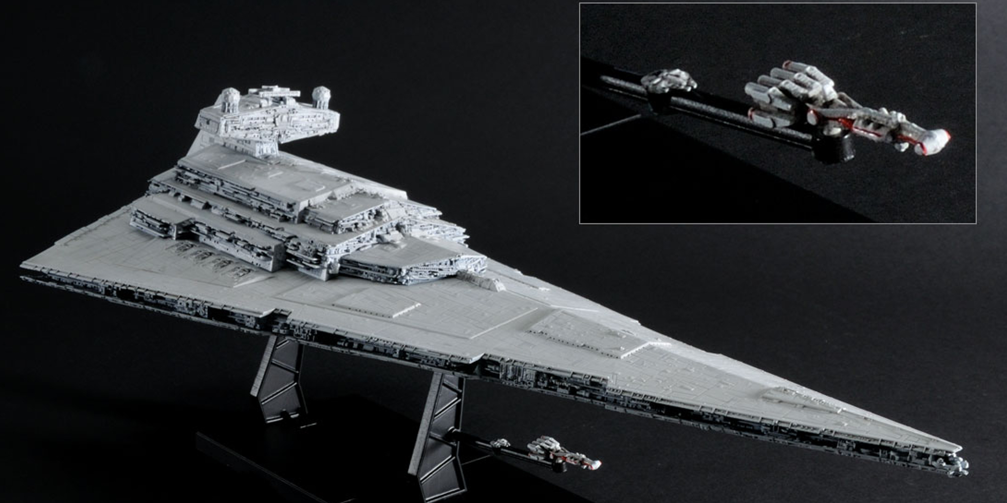 Bandai's Star Destroyer with display stand and miniatures