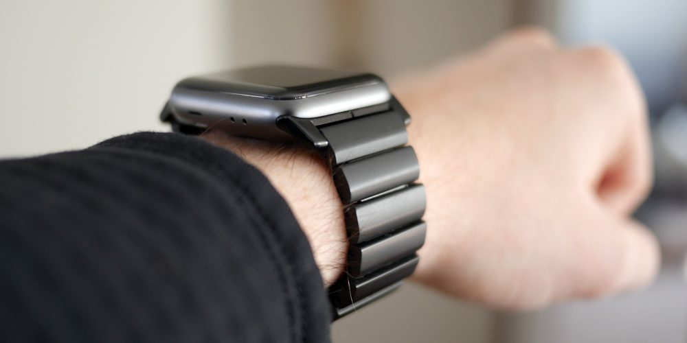 Nomad Titanium Apple Watch Band on wrist