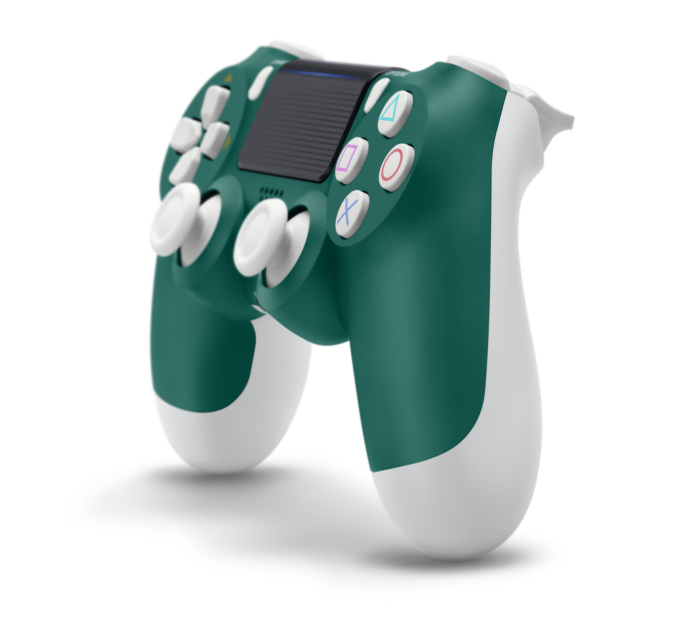 Alpine Green PS4 controller with gold accents