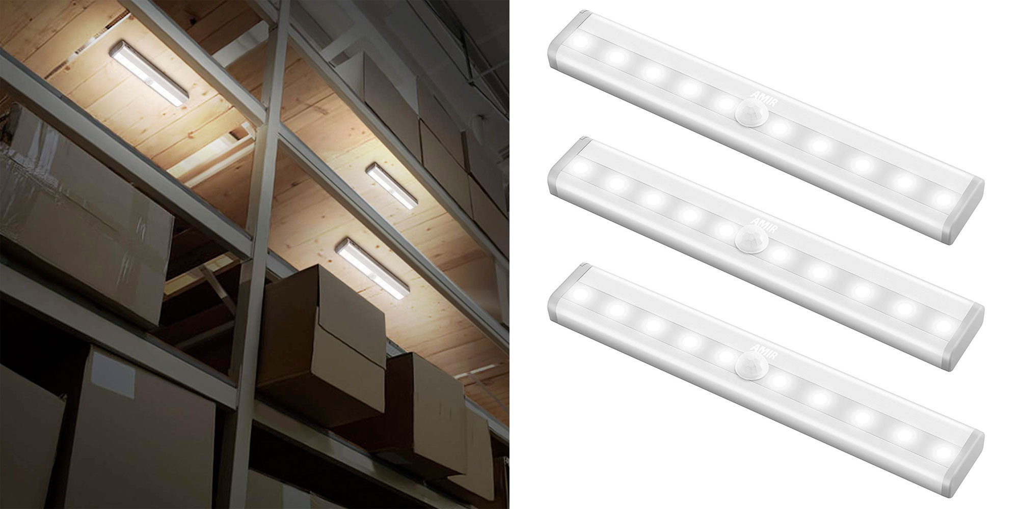 Illuminate under cabinets, closets, more w/ a 3-pack of motion-sensing LED lights for just $10