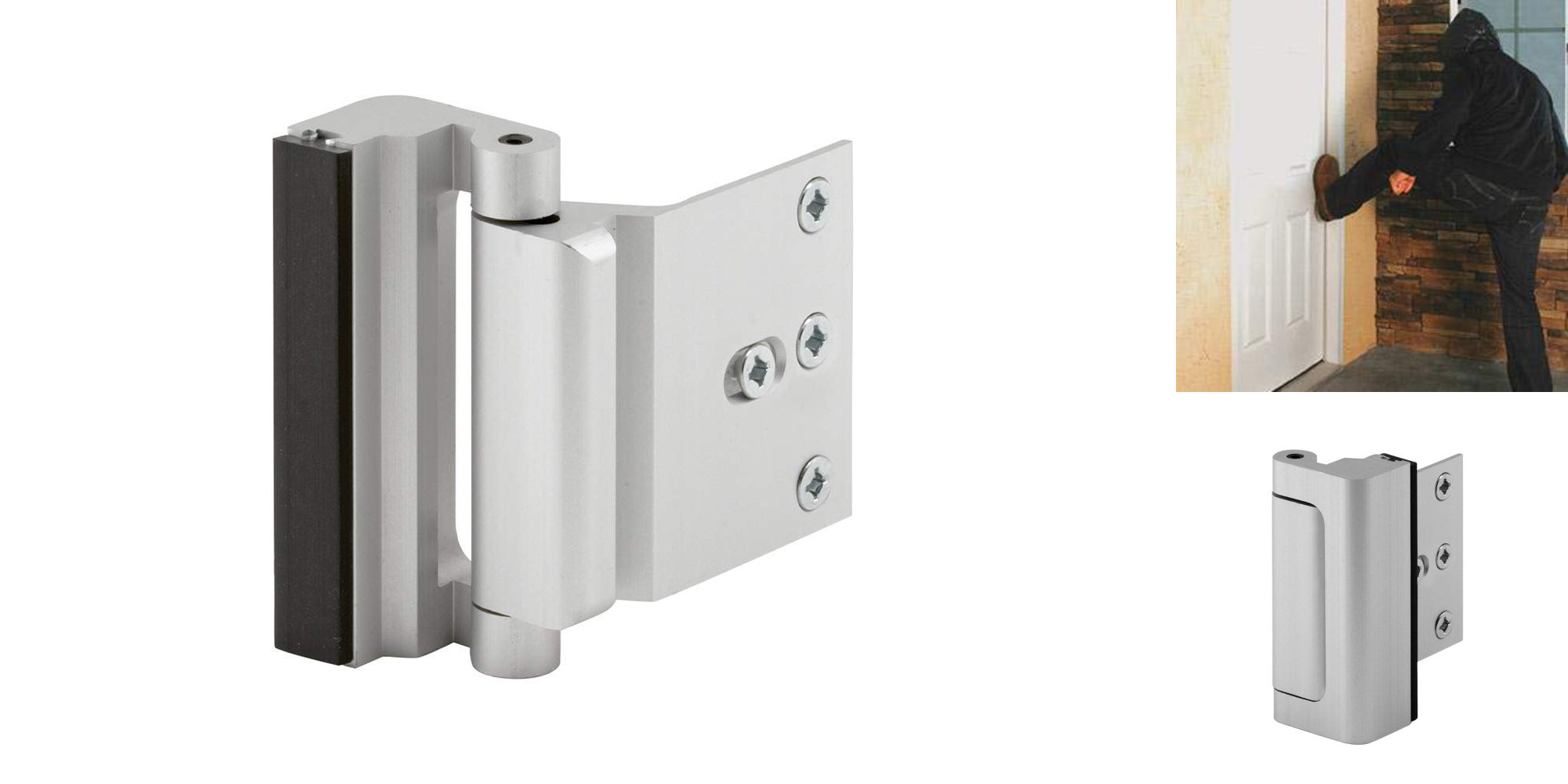 This reinforcement door lock can withstand 800 pounds of force: $12.50 (Amazon low)