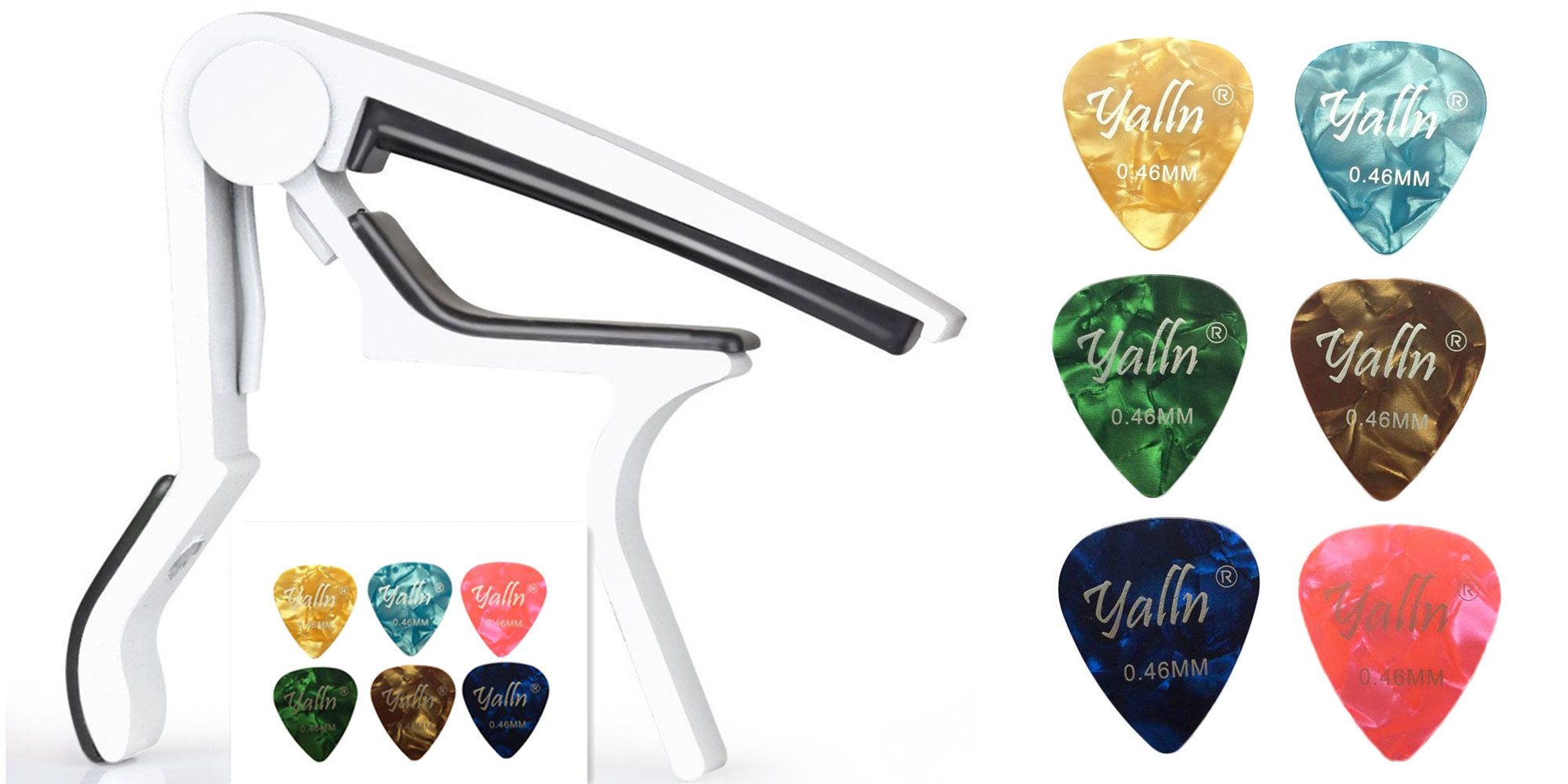 Add six spare guitar picks and a Capo key clamp to your collection for just $3 Prime shipped