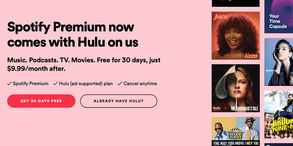 Hulu free with latest Spotify Premium offer