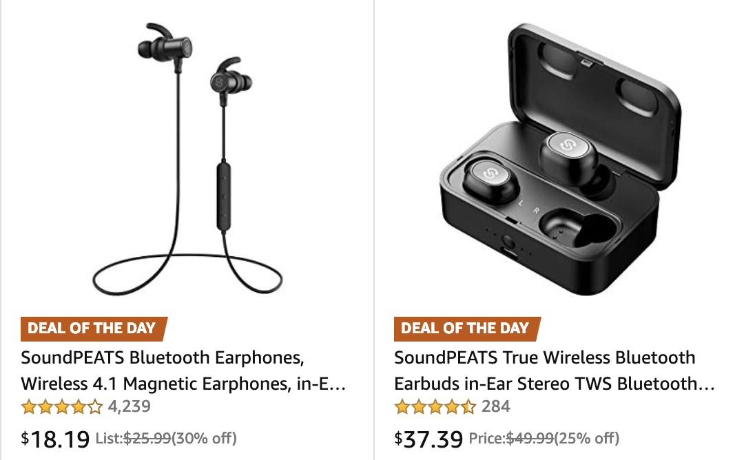 SoundPEATS Bluetooth headset Gold Box from $18, True Wireless Earbuds $37, more