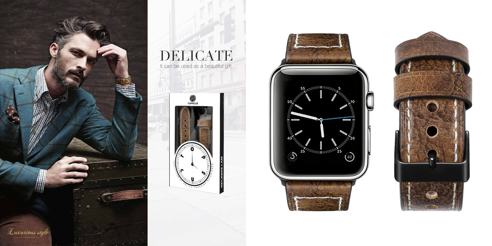 Upgrade your Apple Watch's look w/ these genuine leather bands for $5.50 shipped