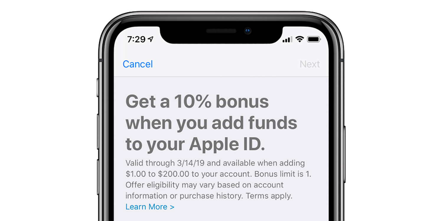 Add funds to your Apple ID and get a 10% bonus for App Store and iTunes purchases