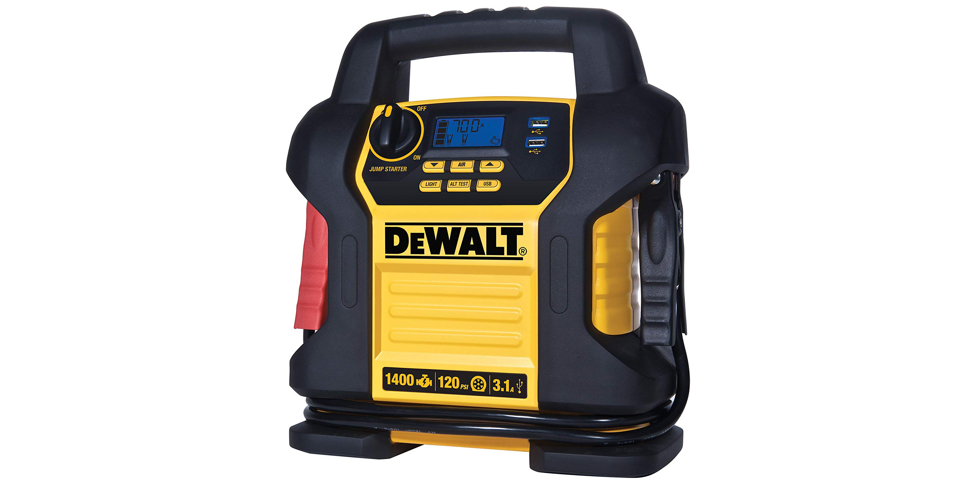 DEWALT's combination jump starter & air compressor has USB ports, now $122 (Reg. $155)
