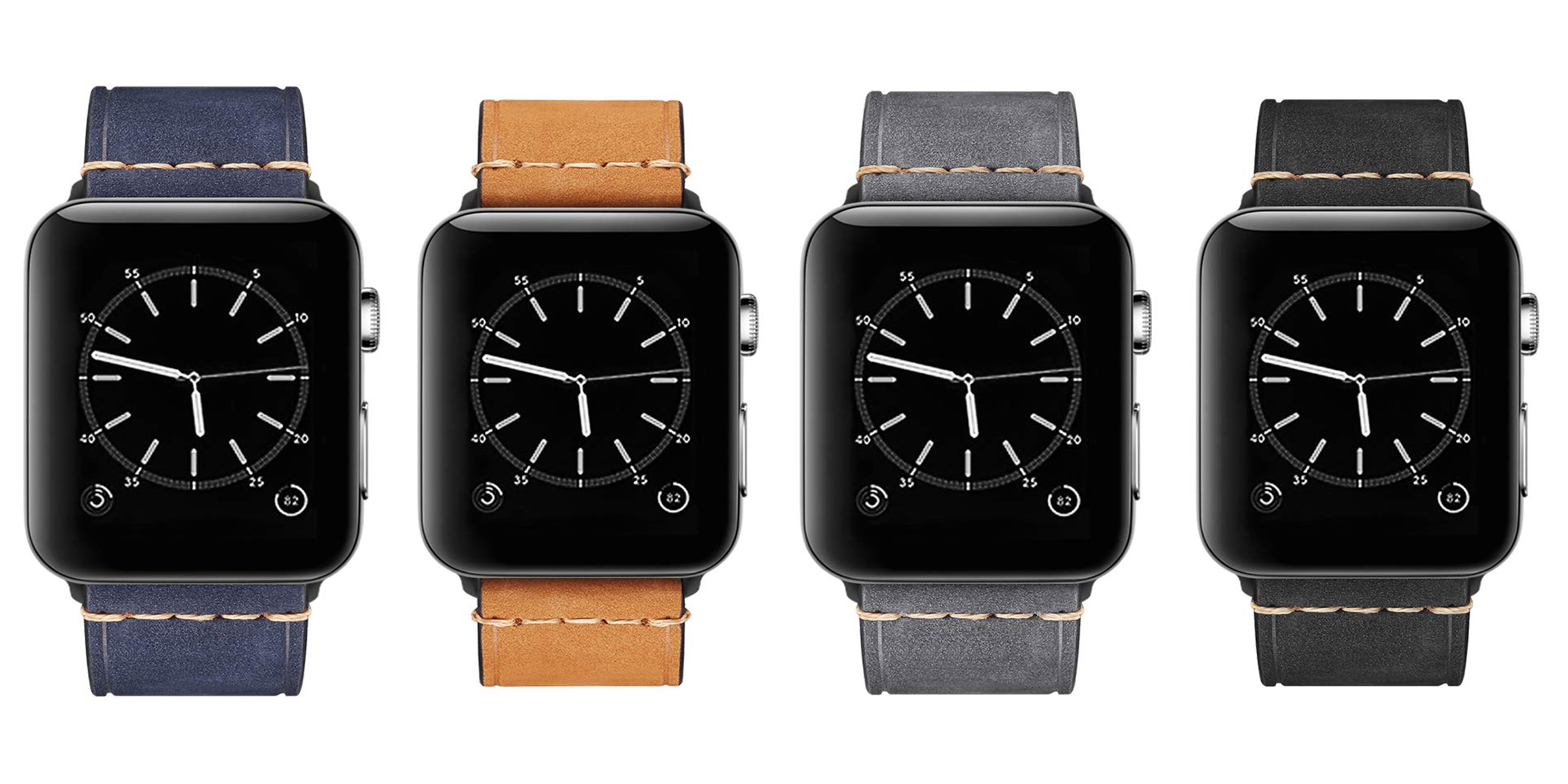 Your choice of four colors highlight this leather Apple Watch band deal at $7