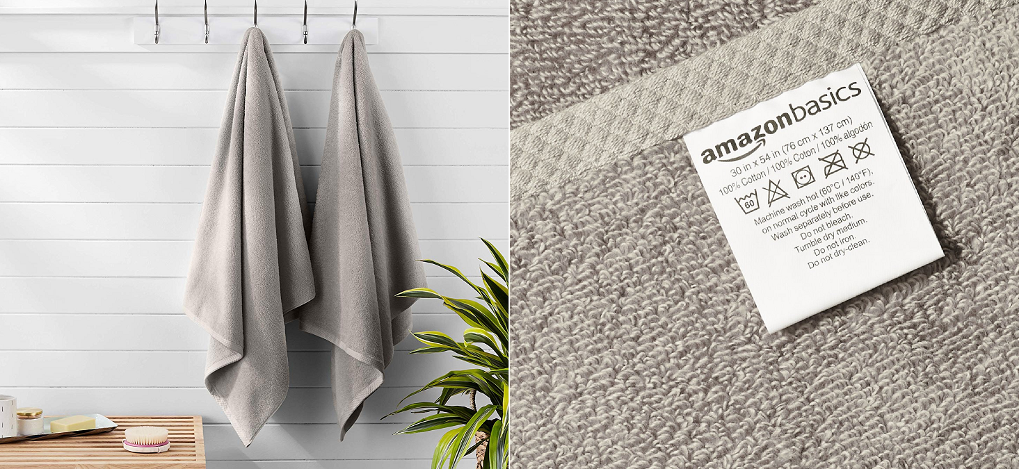 Add a pair of AmazonBasics 100% Cotton Towels to your bathroom for $13 (30% off), more from $8