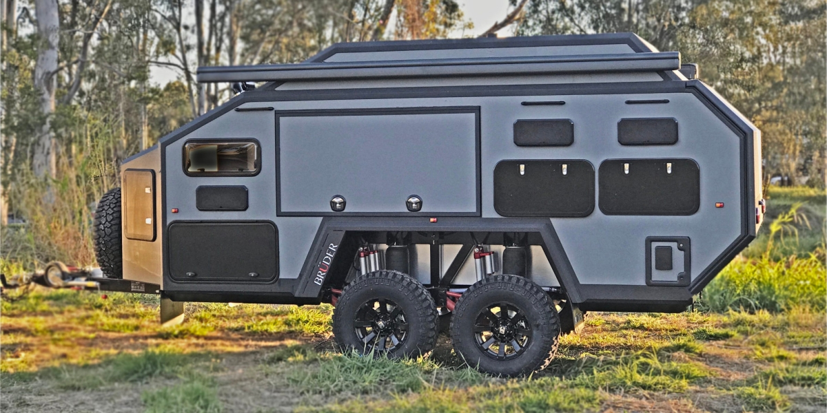Brudger EXP-6 camper shown outdoors