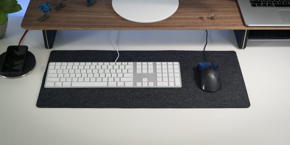 Grovemade Small wool felt desk pad with mouse and keyboard