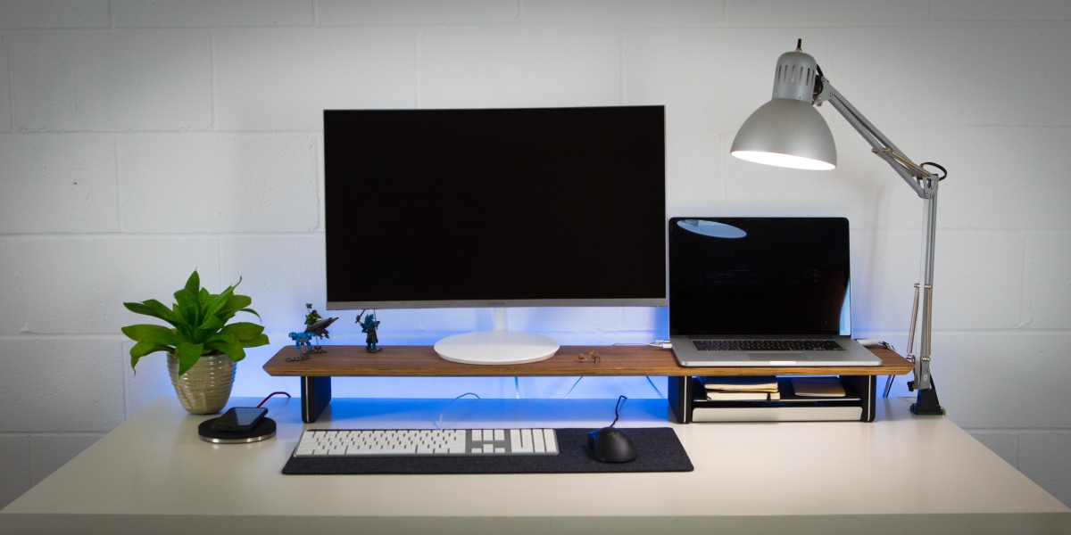 Grovemade desk shelf with accessories