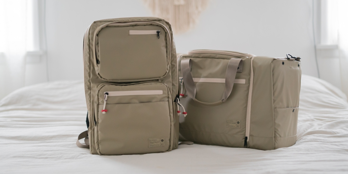 HEX Sneaker Duffel and Patrol Backpack on bed
