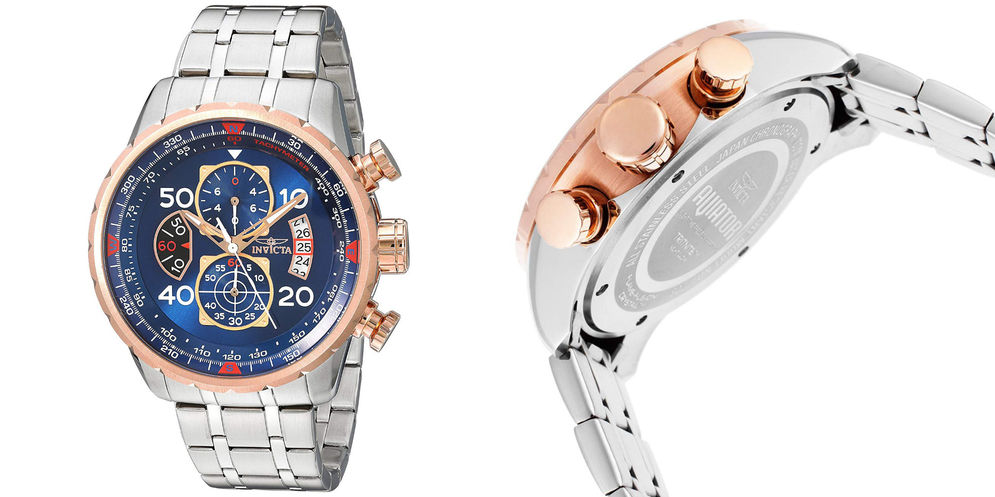 For $55, Invicta's Aviator Watch will put stainless steel and gold on your wrist (Reg. $95)