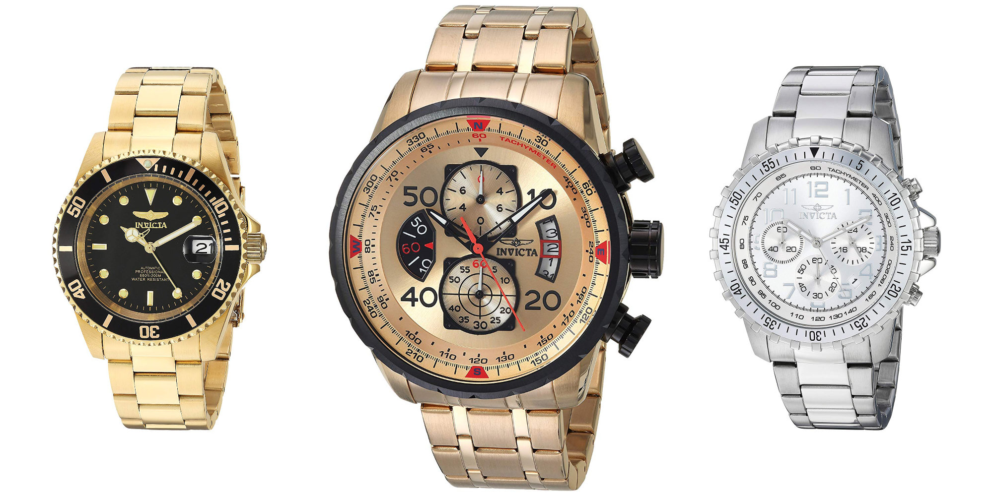 Shake up your look w/ Invicta's Aviator Gold Watch for $62 (Reg. $90), more from $49.50