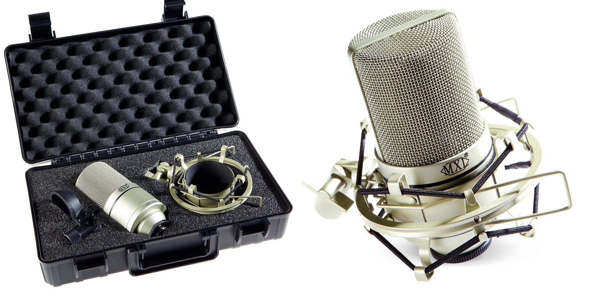 The MXL 990 Mic Kit Includes A Shock Mount, Carrying Case