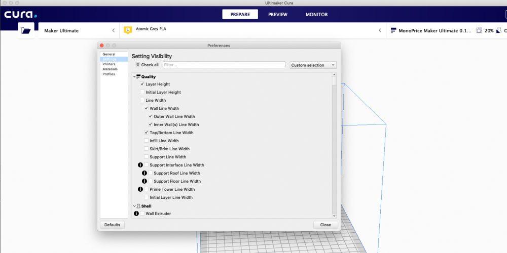 Maker Ultimate Setting Visibility menu