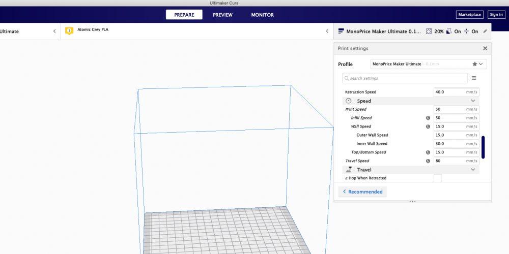 Maker Ultimate print settings menu