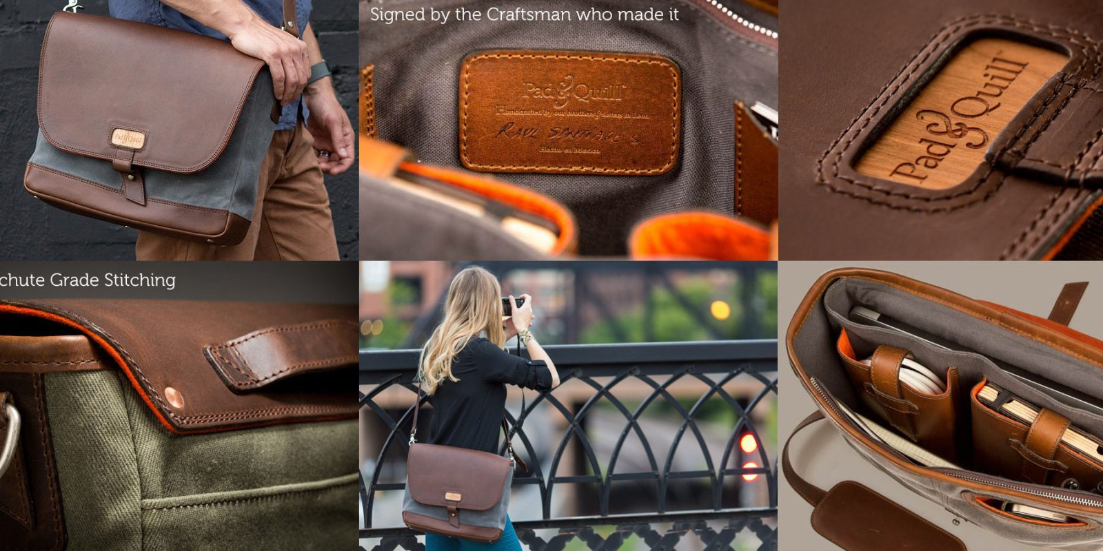 a7704ef462 Pad   Quill Canvas Leather MacBook bags from  108  messenger ...