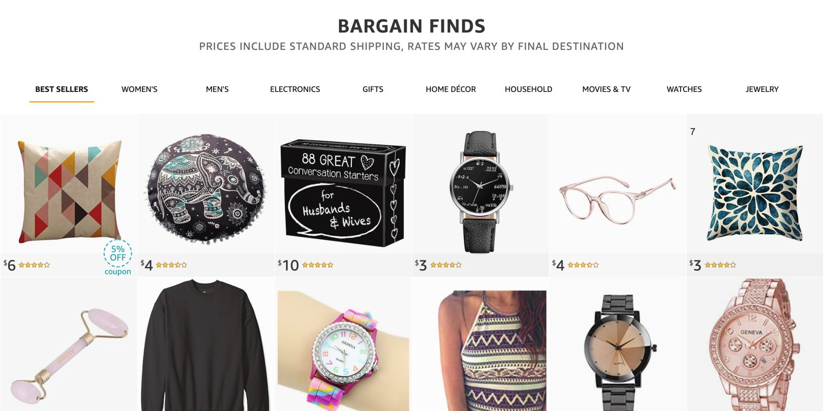 Did you know Amazon has a dollar store? The Bargain Finds shop offers free shipping for all