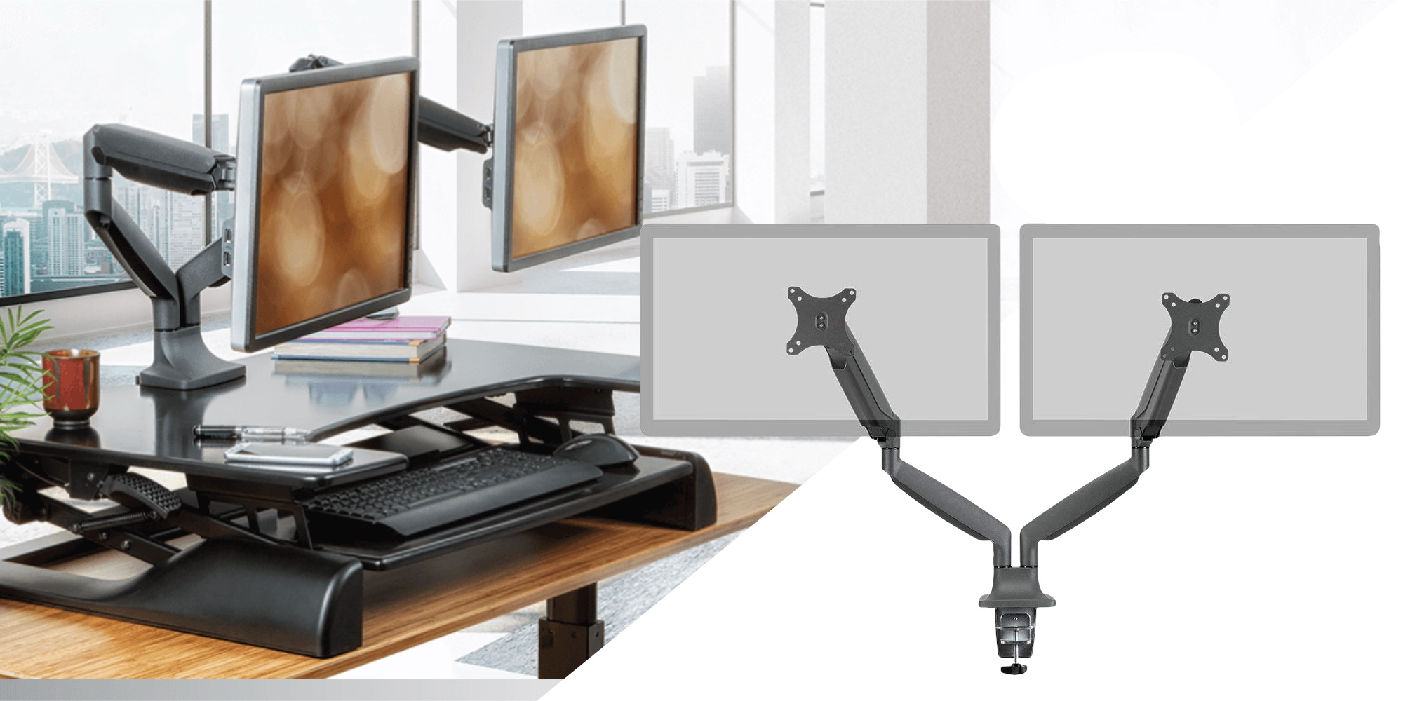 Monoprice's $79 Adjustable Dual Monitor Mount reclaims used desk space (Save 20%)