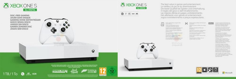 xbox one x all digital packaging