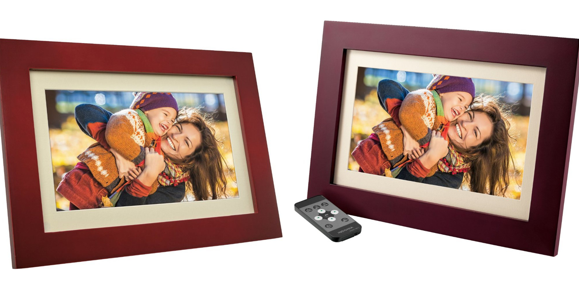 Put Insignia's 10-inch Wood Digital Photo Frame with remote in the family room for $45 (Reg. $80)