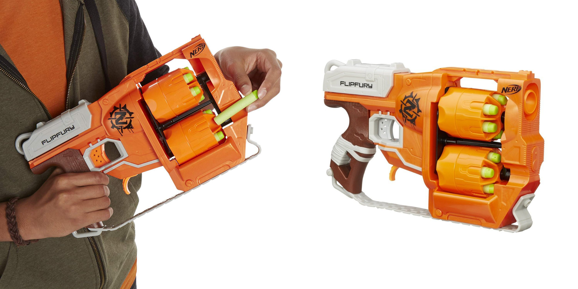 The Nerf ZombieStrike FlipFury features dual-barrels and a 12-dart capacity: $13 (Reg. $20)