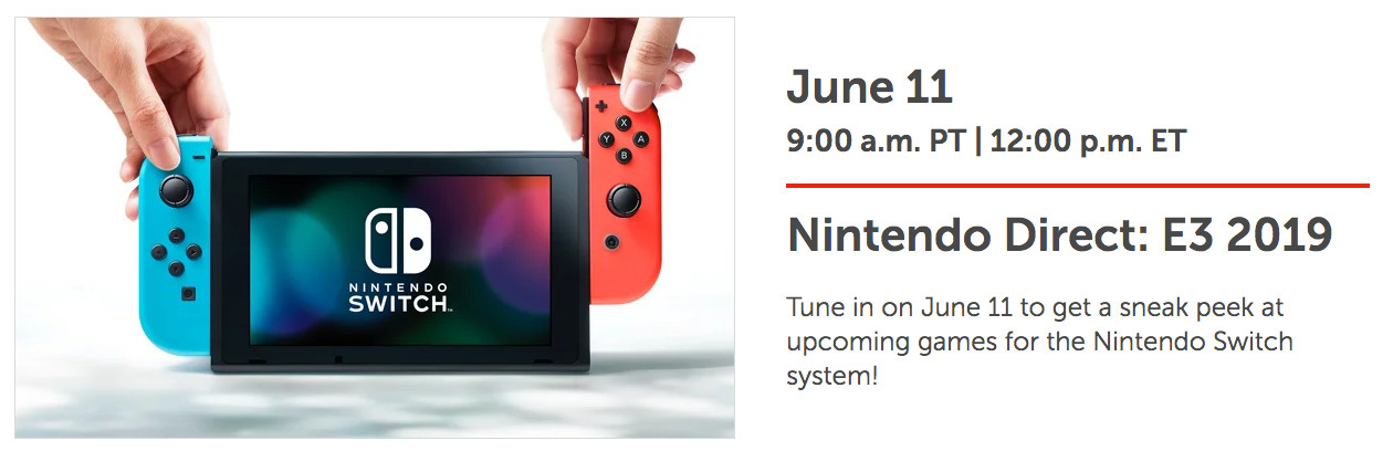 Nintendo E3 2019 Direct Schedule