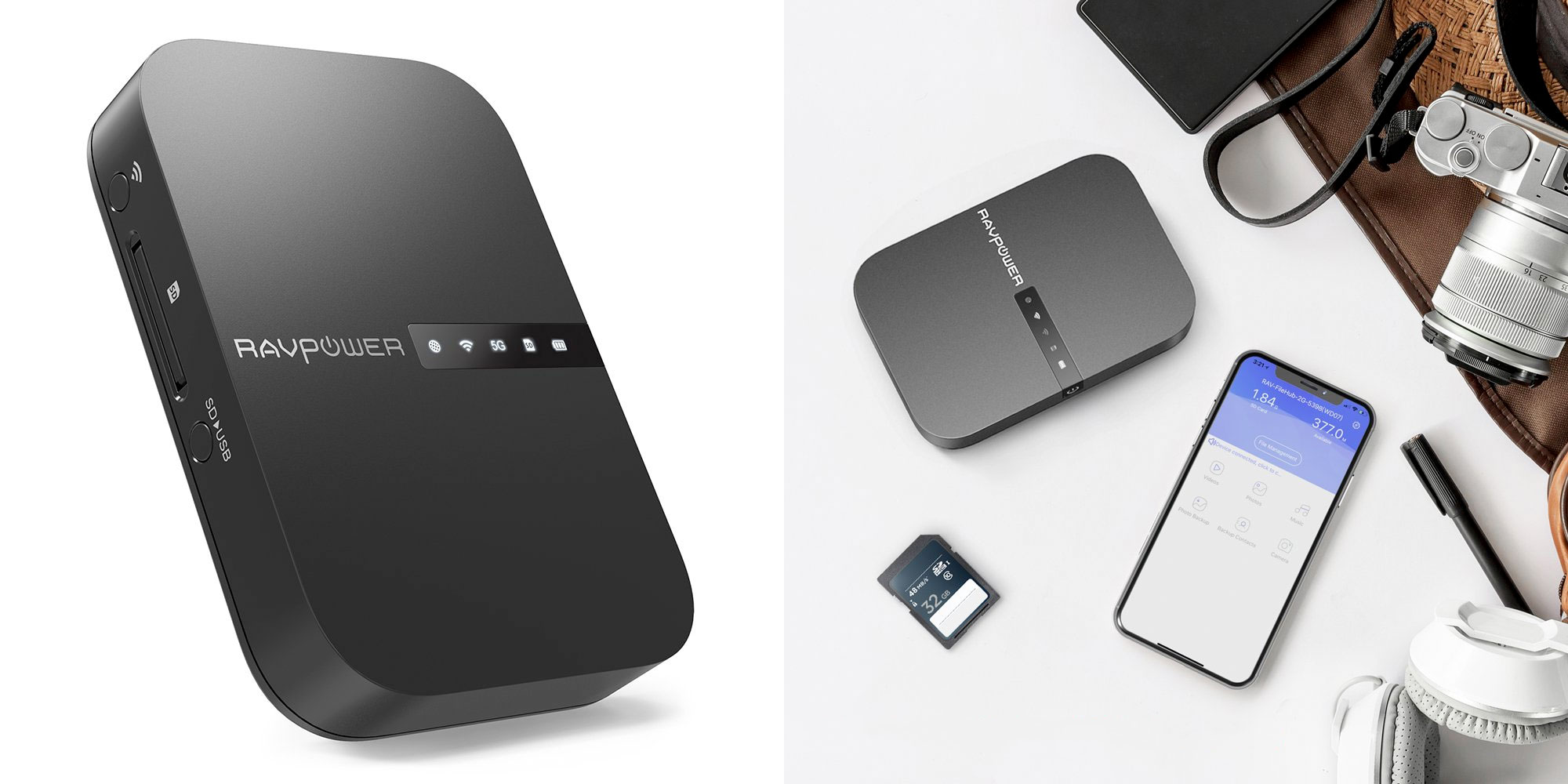 RAVPower's FileHub is a battery-powered 802.11ac router and wireless SD card reader: $45 (Reg. $60)