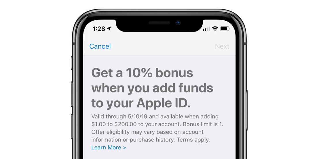 Apple gives 10% bonus on funds added to your Apple ID