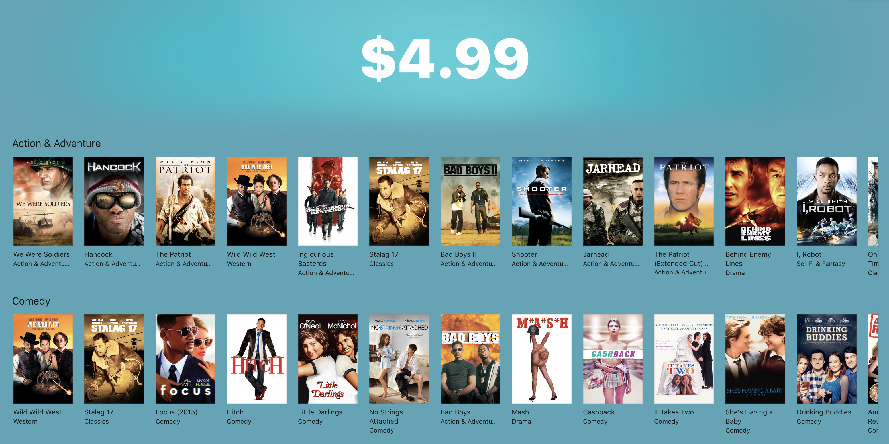 iTunes launches $5 Memorial Day movie sale with deals across every genre