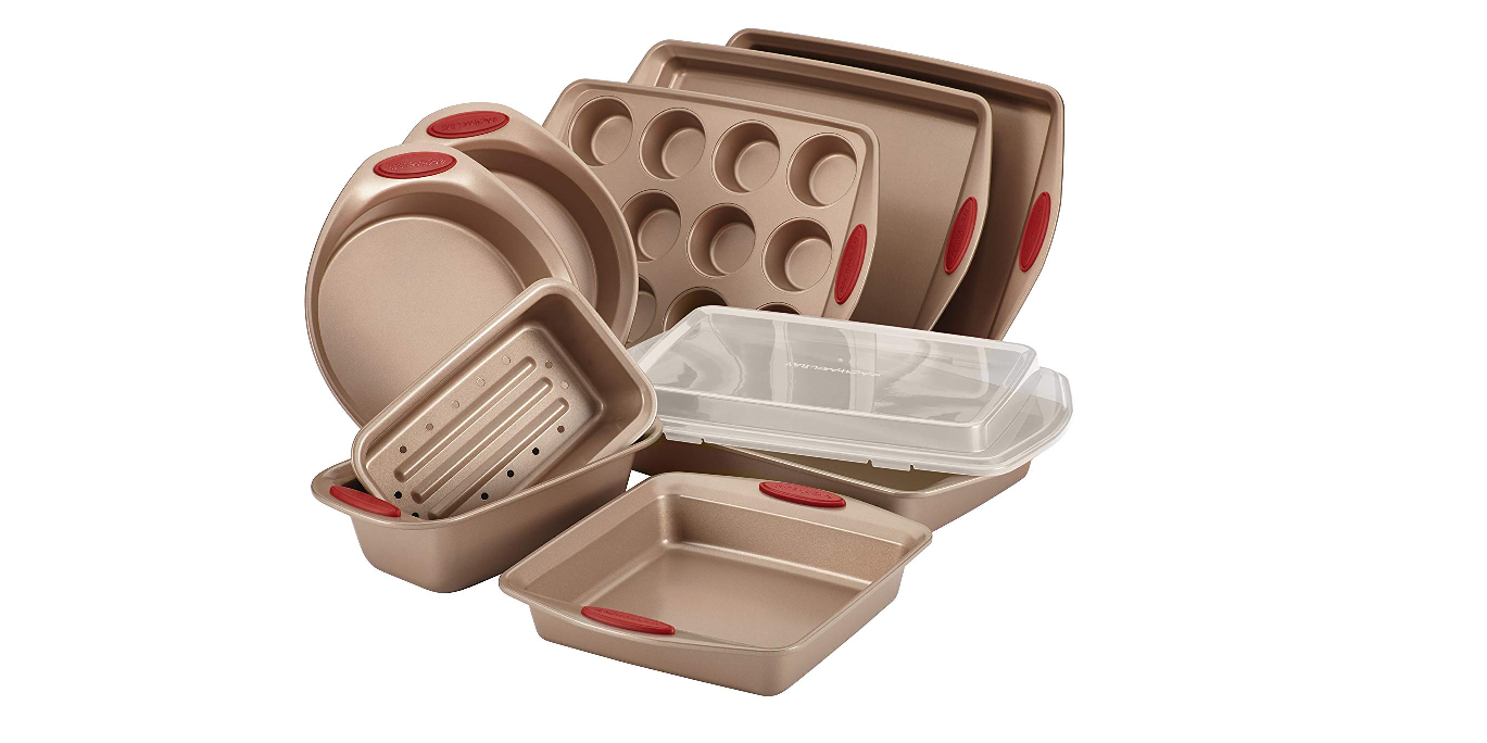 Make many sweet treats w/ the Rachael Ray 10-piece Nonstick Bakeware Set for $64 (Reg. up to $100)