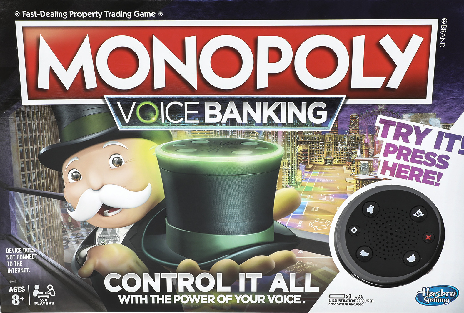 New Monopoly Voice Banking Edition box
