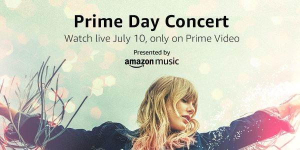 prime day concert 2019 banner featuring taylor swift