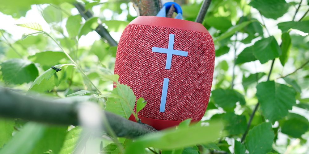 Ultimate Ears speaker in a tree