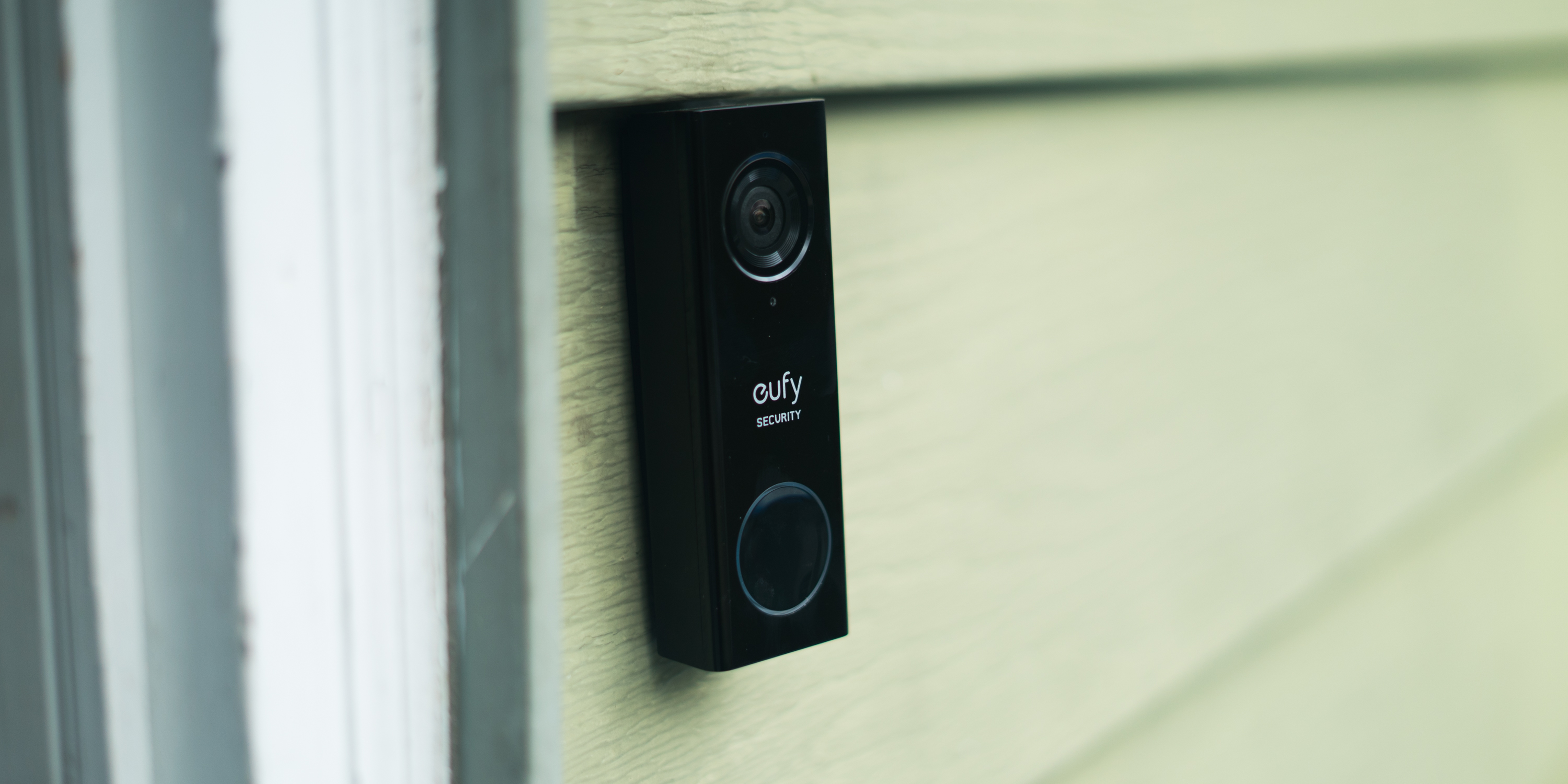 eufy video doorbell mounted outside