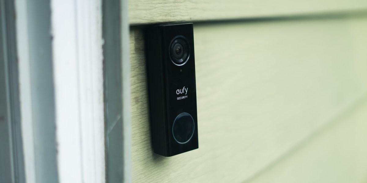 eufy video doorbell mounted outside
