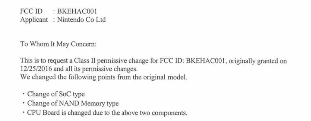Original Nintendo Switch FCC document