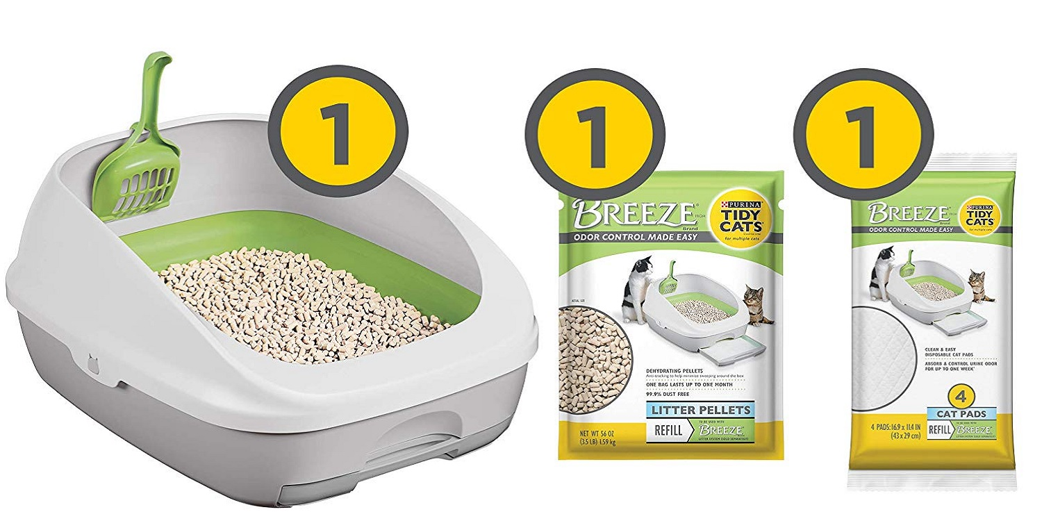 The Tidy Cats Breeze Litter Box Kit includes everything you need at $16.50
