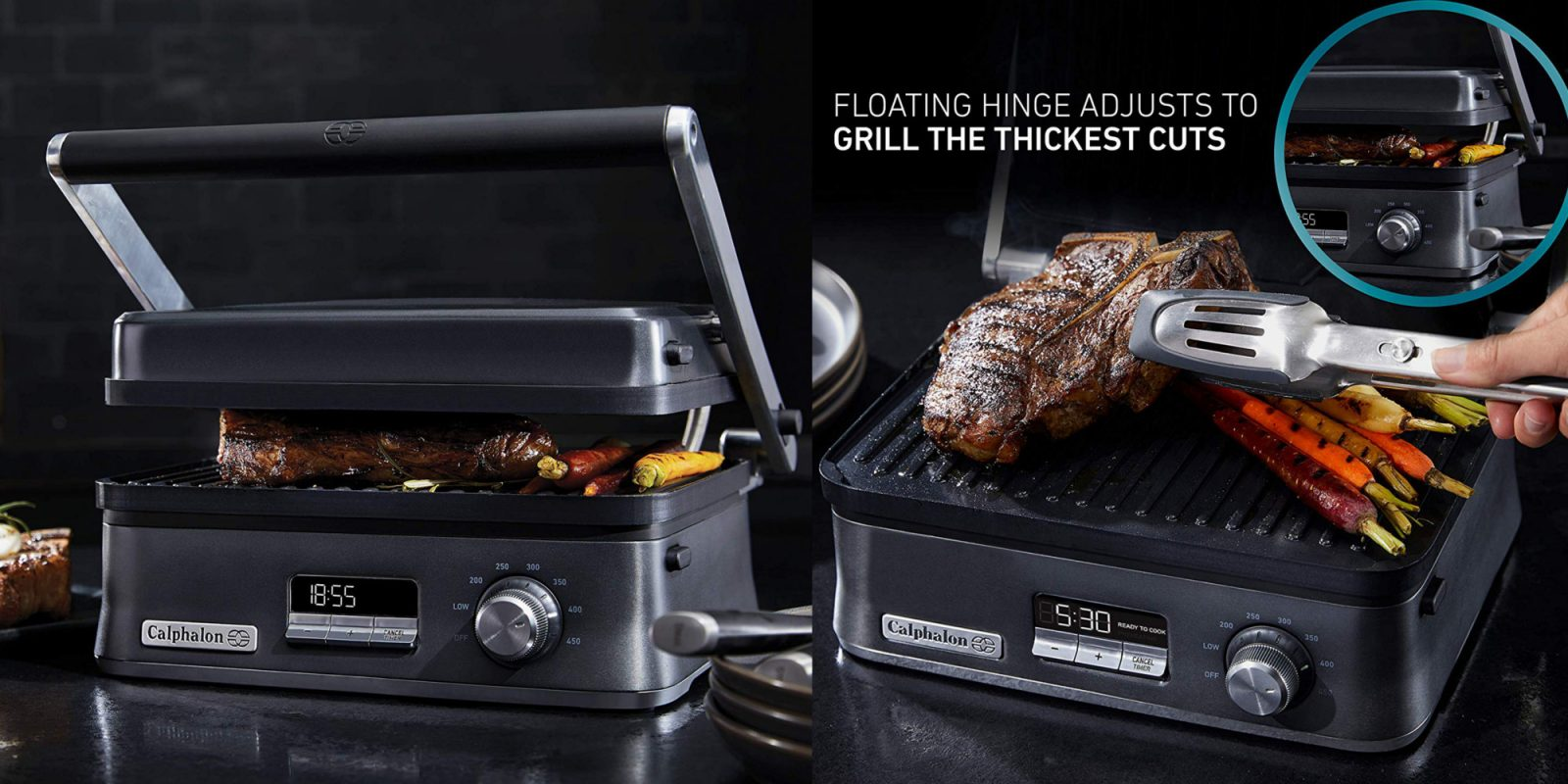 Calphalon's dark stainless steel electric grill now just $70 (Reg. up to $150)